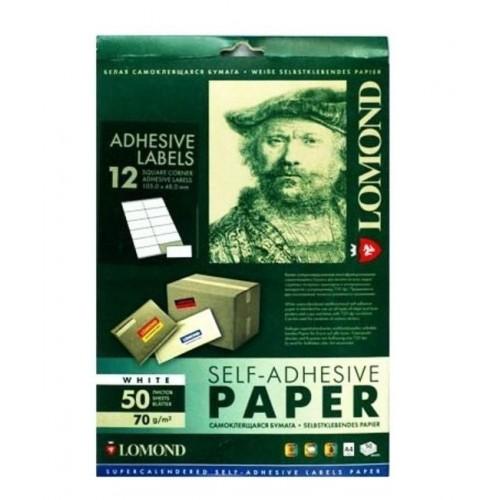 Самоклеющаяся бумага LOMOND (2100065) 12 частей (105,0х48,0 мм) 70 г/м2, А4,50 листов