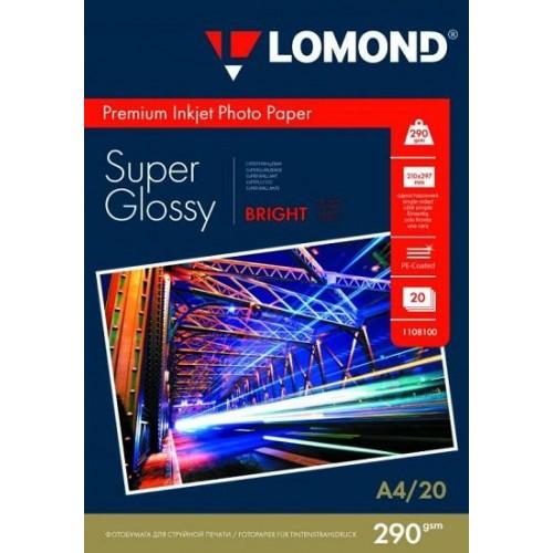 фотобумага LOMOND A4, 20 листов, 290 г/м2 суперглянцевая, микропористая, ярко-белая 1108100