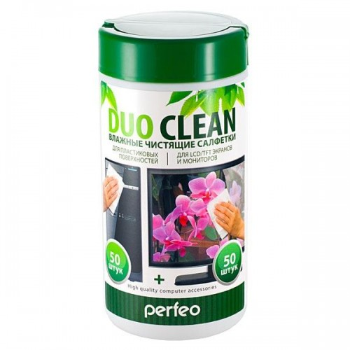Туба с чистящими салфетками DUO Clean, универсальные, 50 влажных и 50 сухих