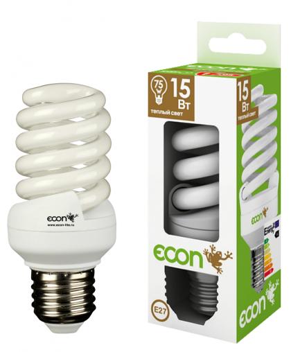 11521 Лампа эн.сб. ECON FSP 15Вт Е27 2700К А60 желтый свет (аналог лампы накаливания 75Вт)
