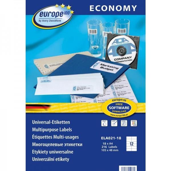Этикетки самоклеящиеся Avery Economy 105*48мм/12 шт. на листе А4 (100 листов) ЕС9161-100